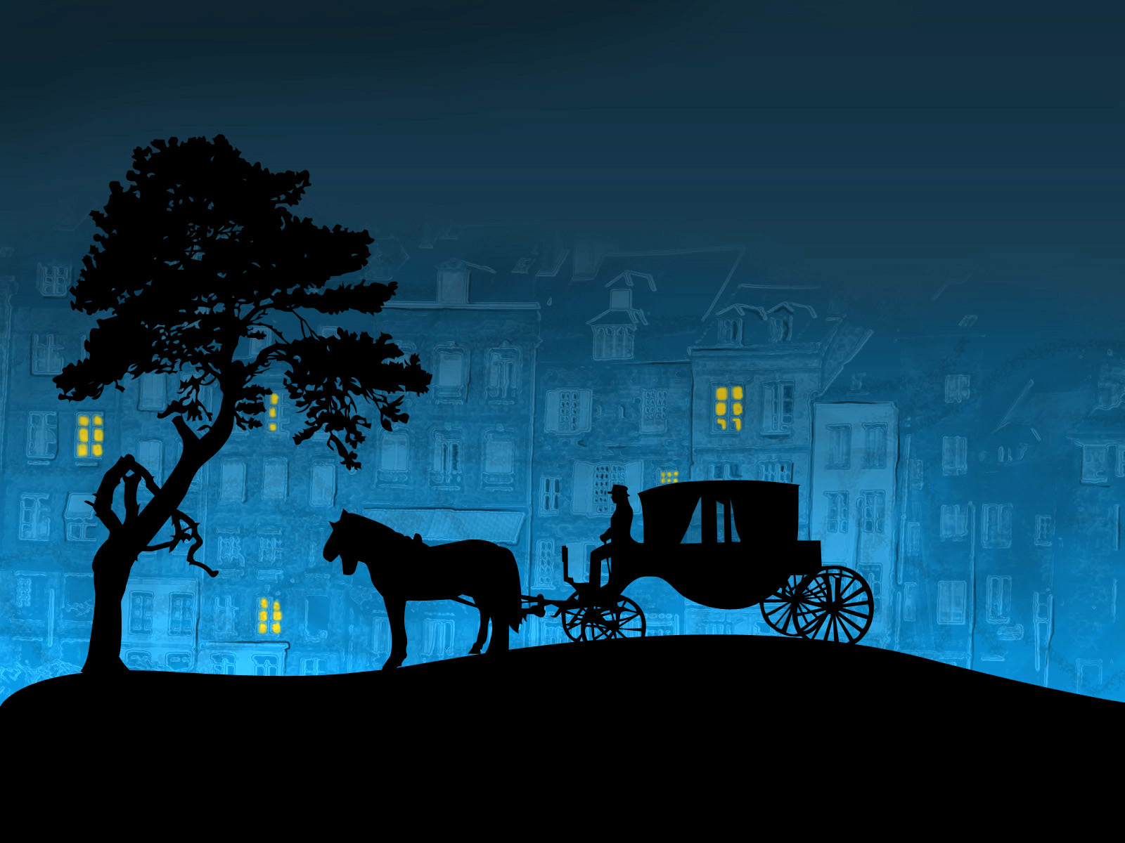Photos Horses Silhouettes Carriage Trees Cities Vector Graphics