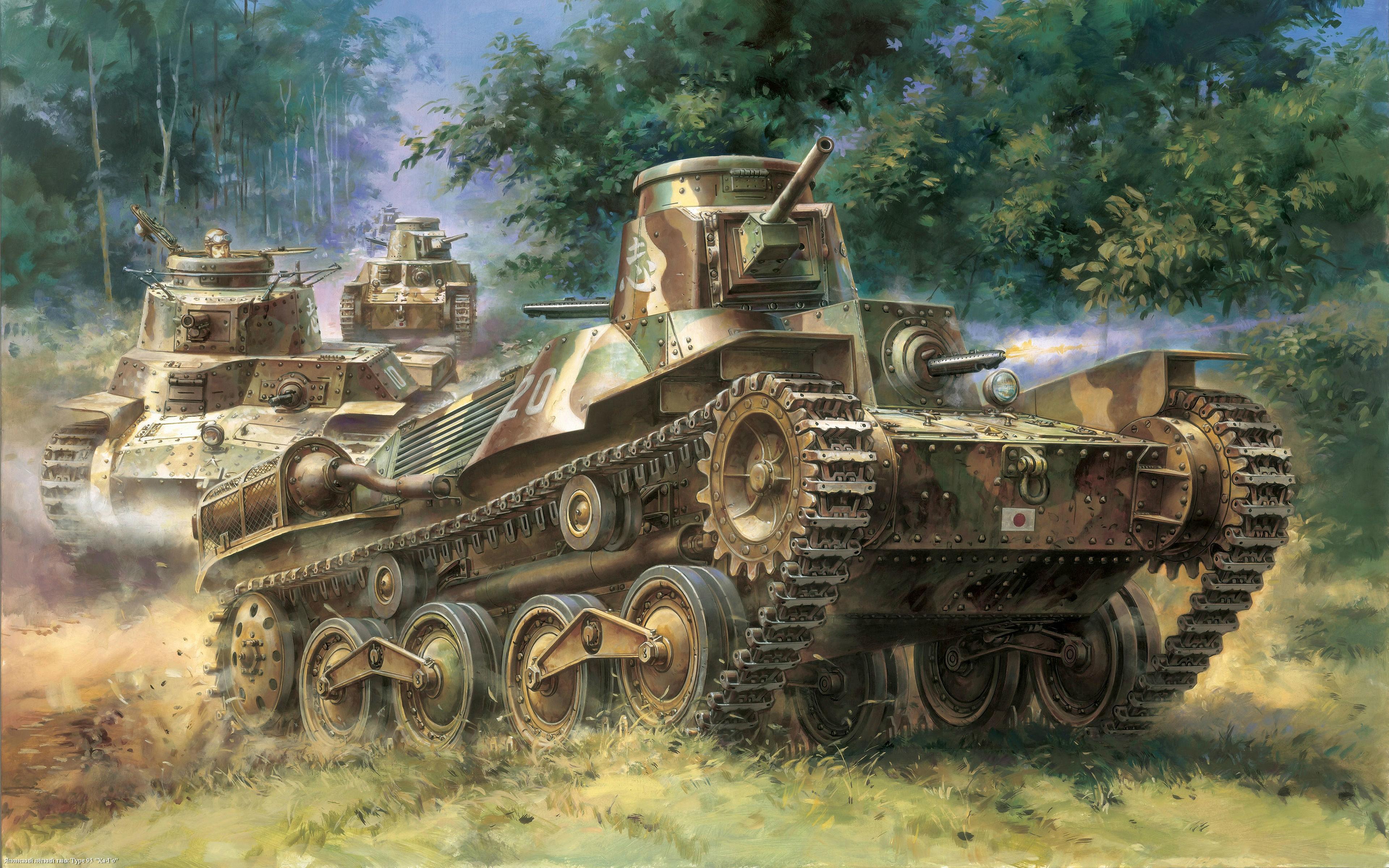 壁紙 3840x2400 戦車 描かれた壁紙 type 95 陸軍 ダウンロード 写真