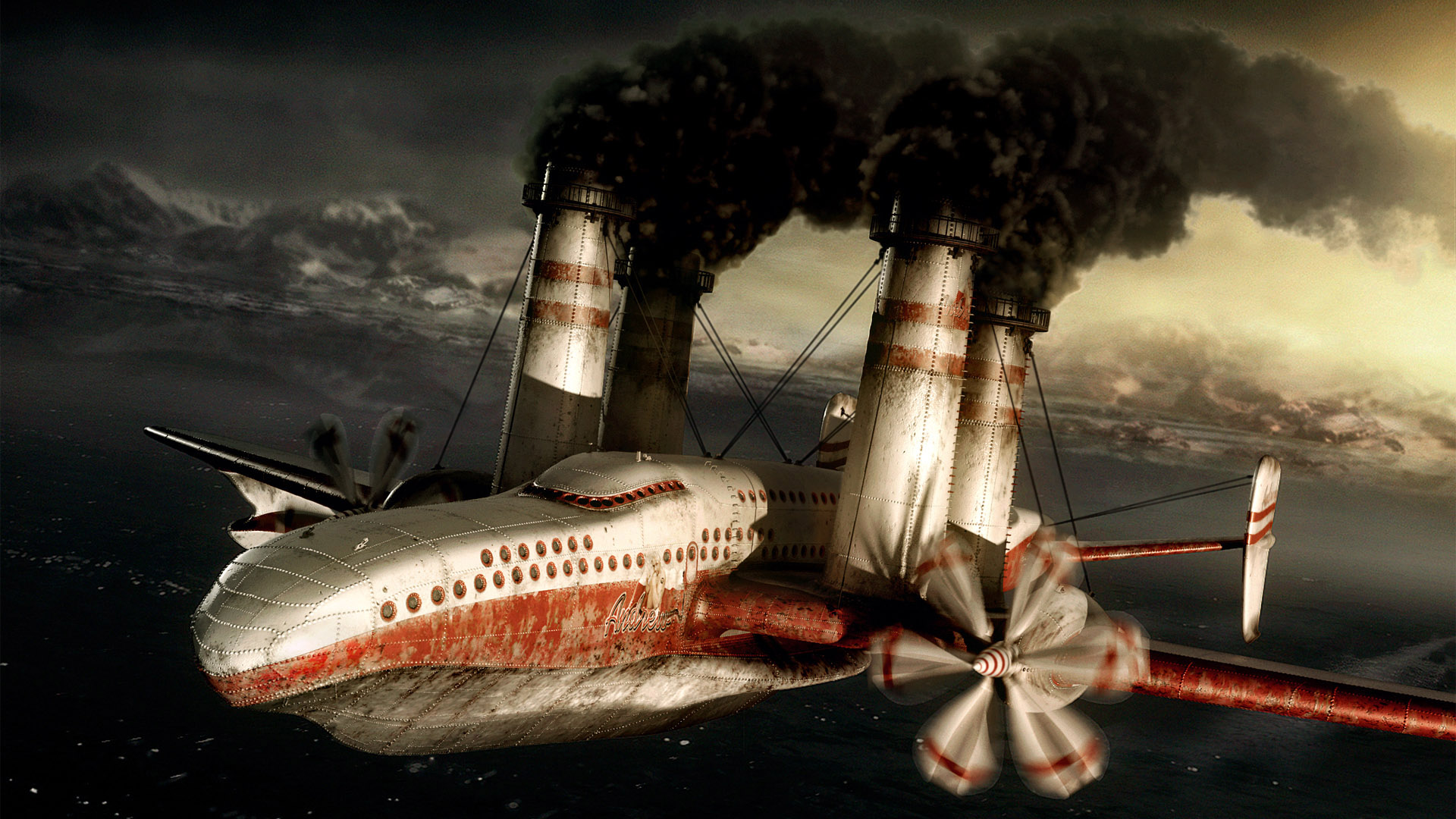 Wallpaper Steampunk Airplane Fantasy 1920x1080