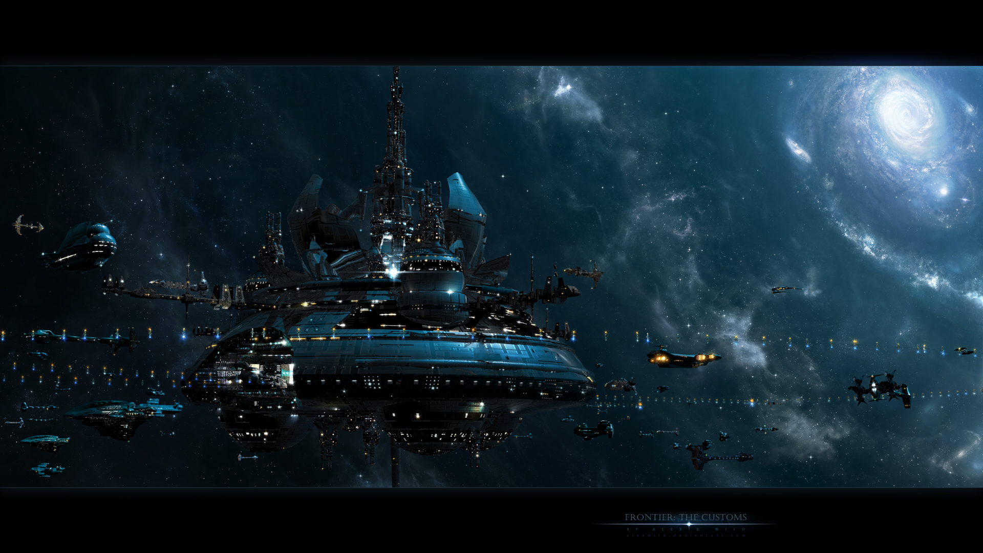 picture orbital stations space fantasy technics fantasy 1920x1080