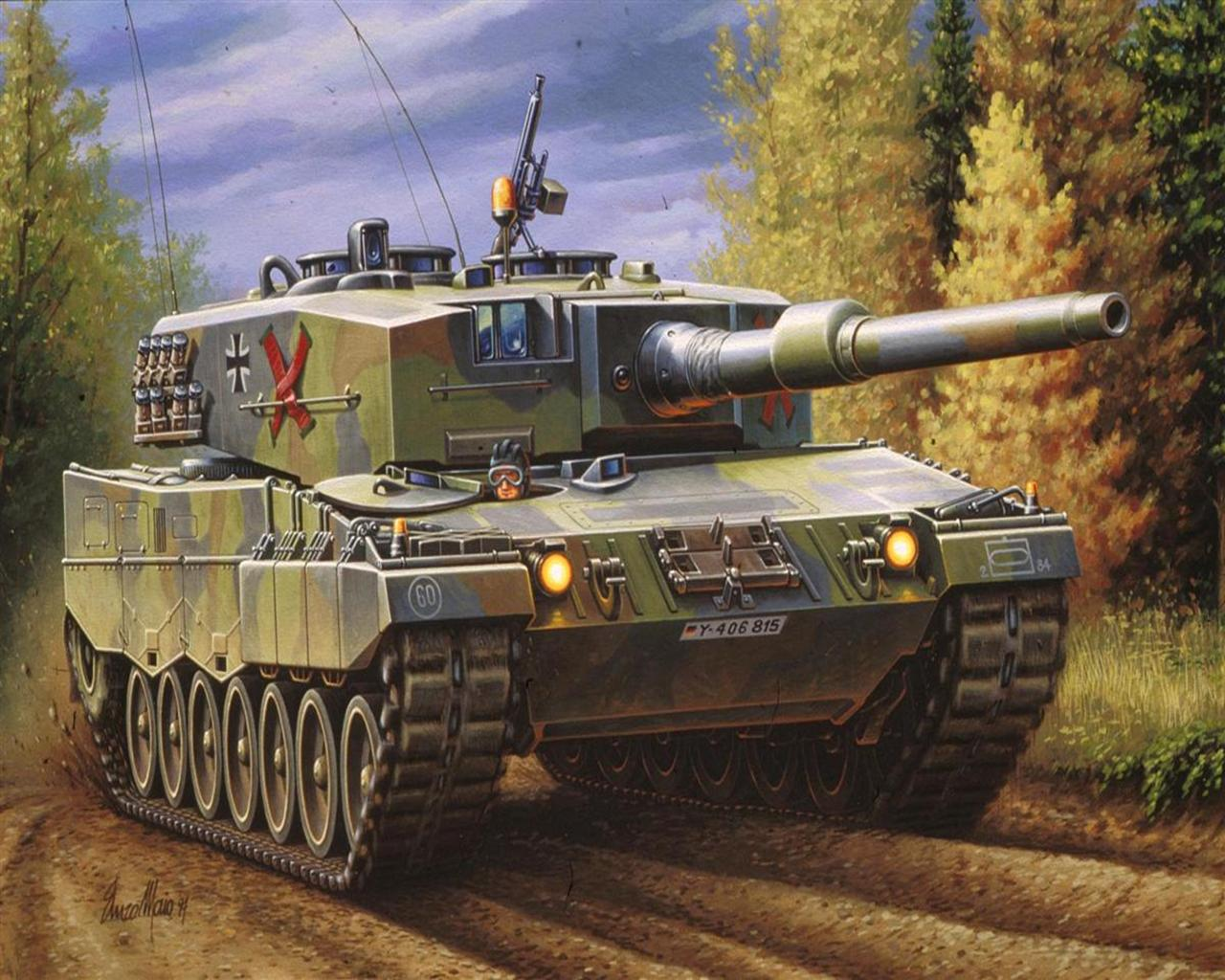 Pictures Military Tanks Leopard 2 A4 Painting Art