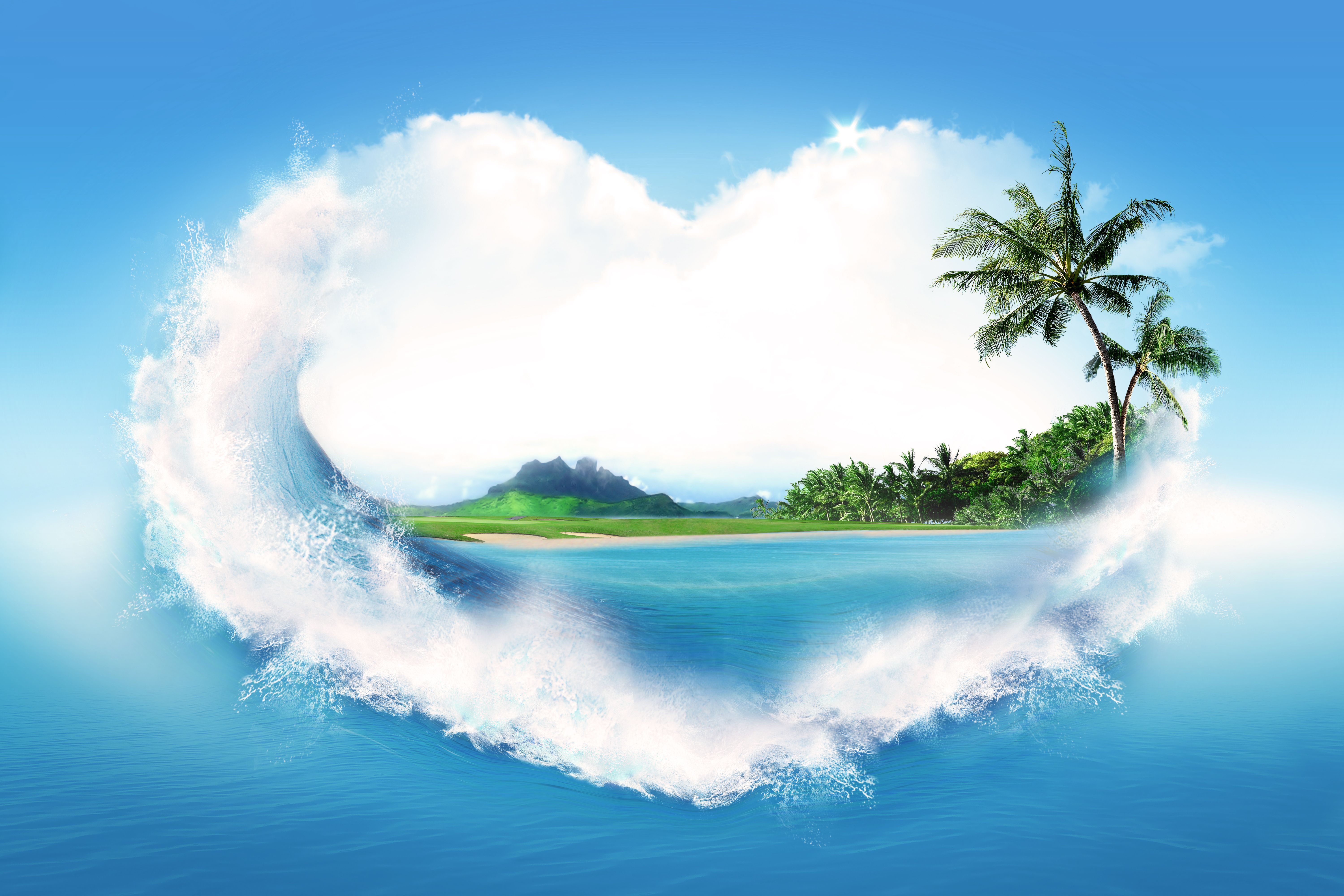 Wallpapers Heart Nature palm trees Palms Heart Nature photo palm trees wallpaper image download on the desktop...