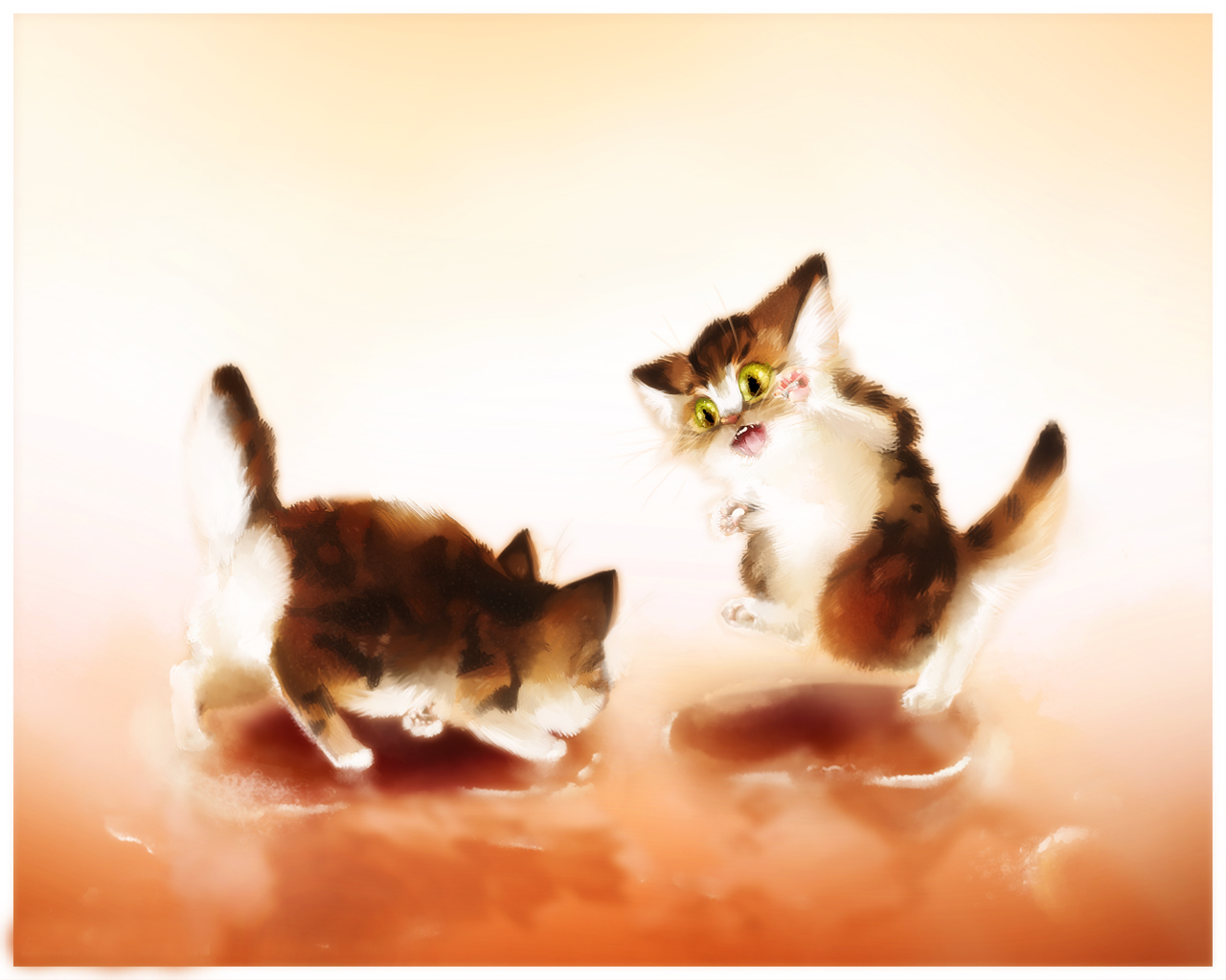 Wallpapers Kitty Cat Cocoa Coffee Cats Animals Painting Art