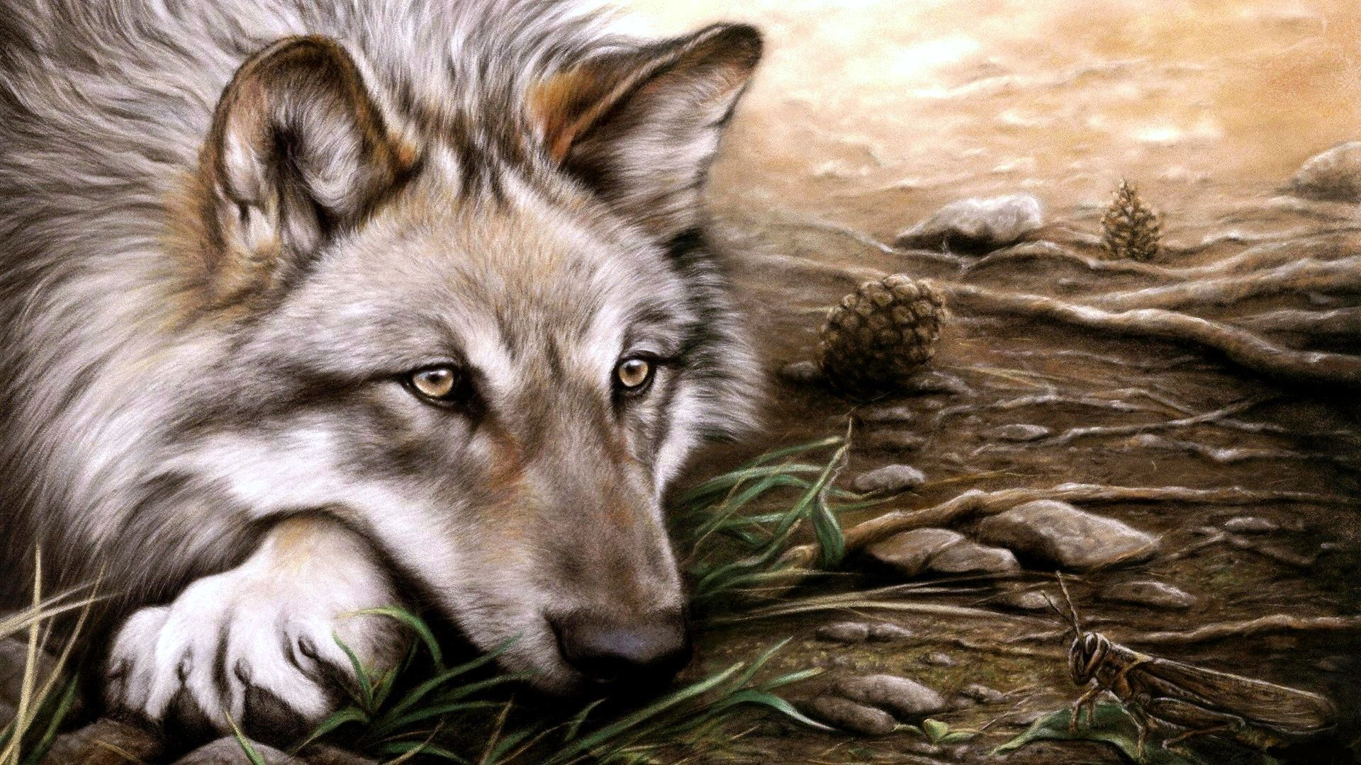 Найти заставку на рабочий стол с волками
