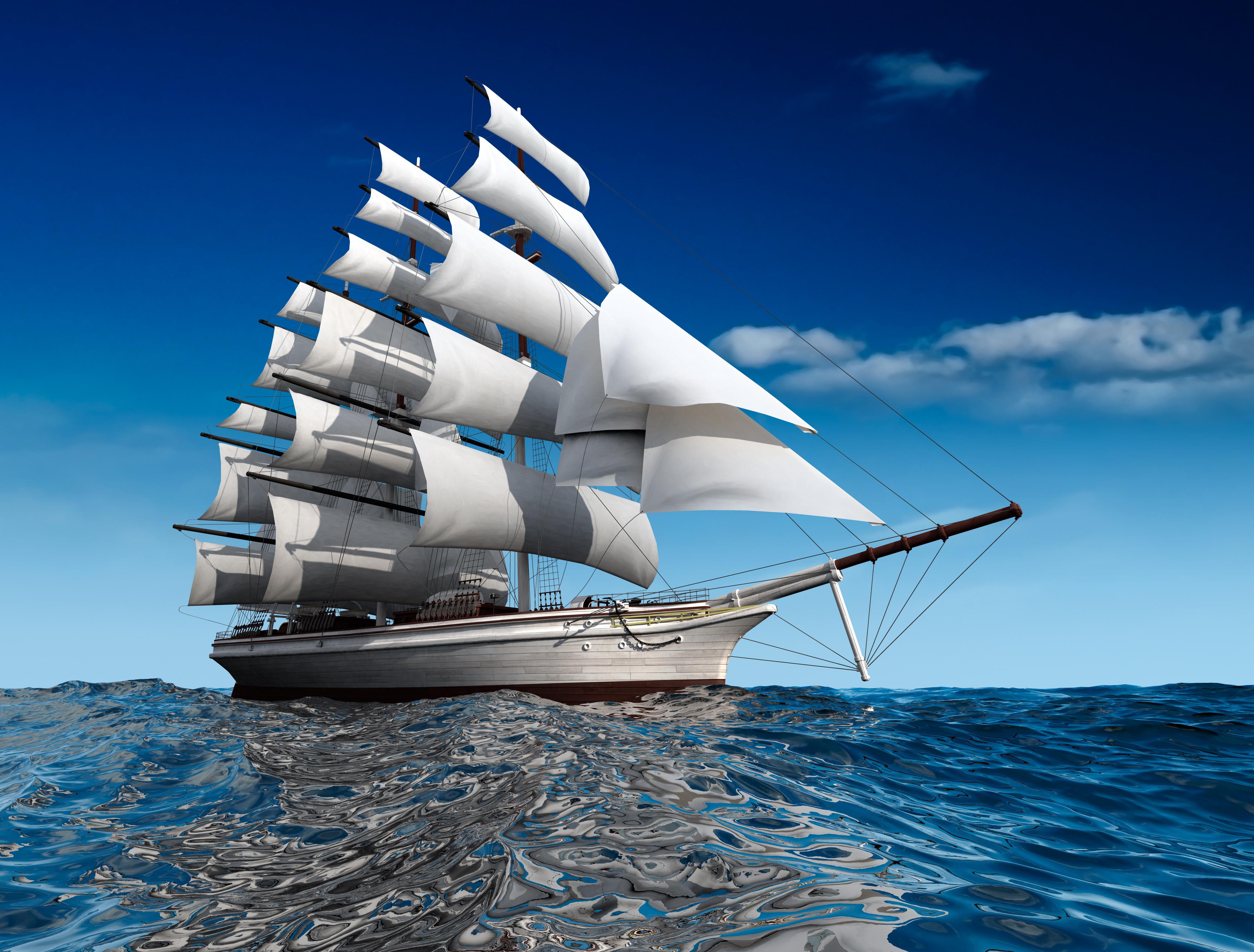 Segelschiffe auf dem meer  Meer 3D-Grafik Schiffe Segeln 4592x3487
