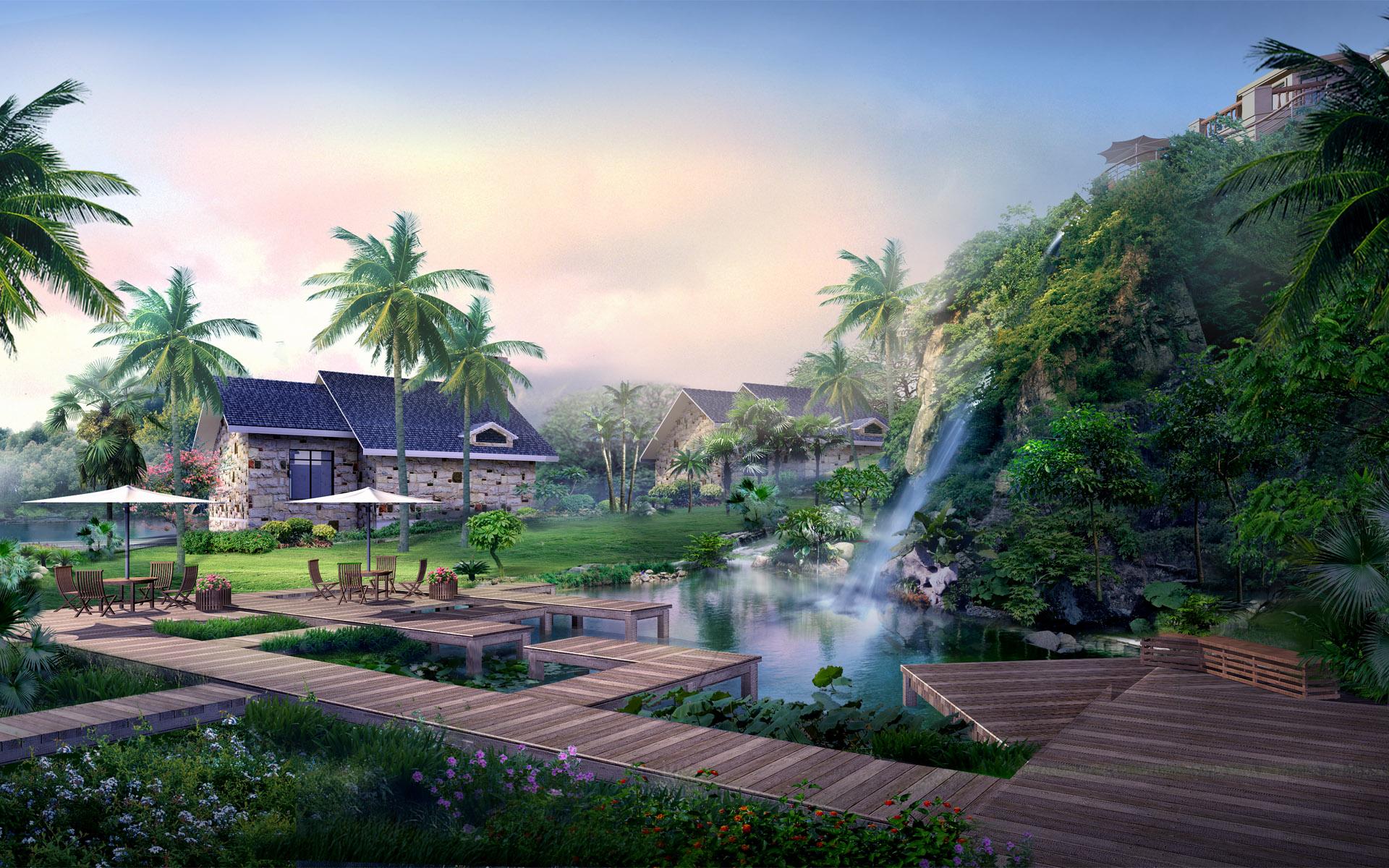 Photo Nature 3d Graphics Scenery Houses Landscape Design 1920x1200