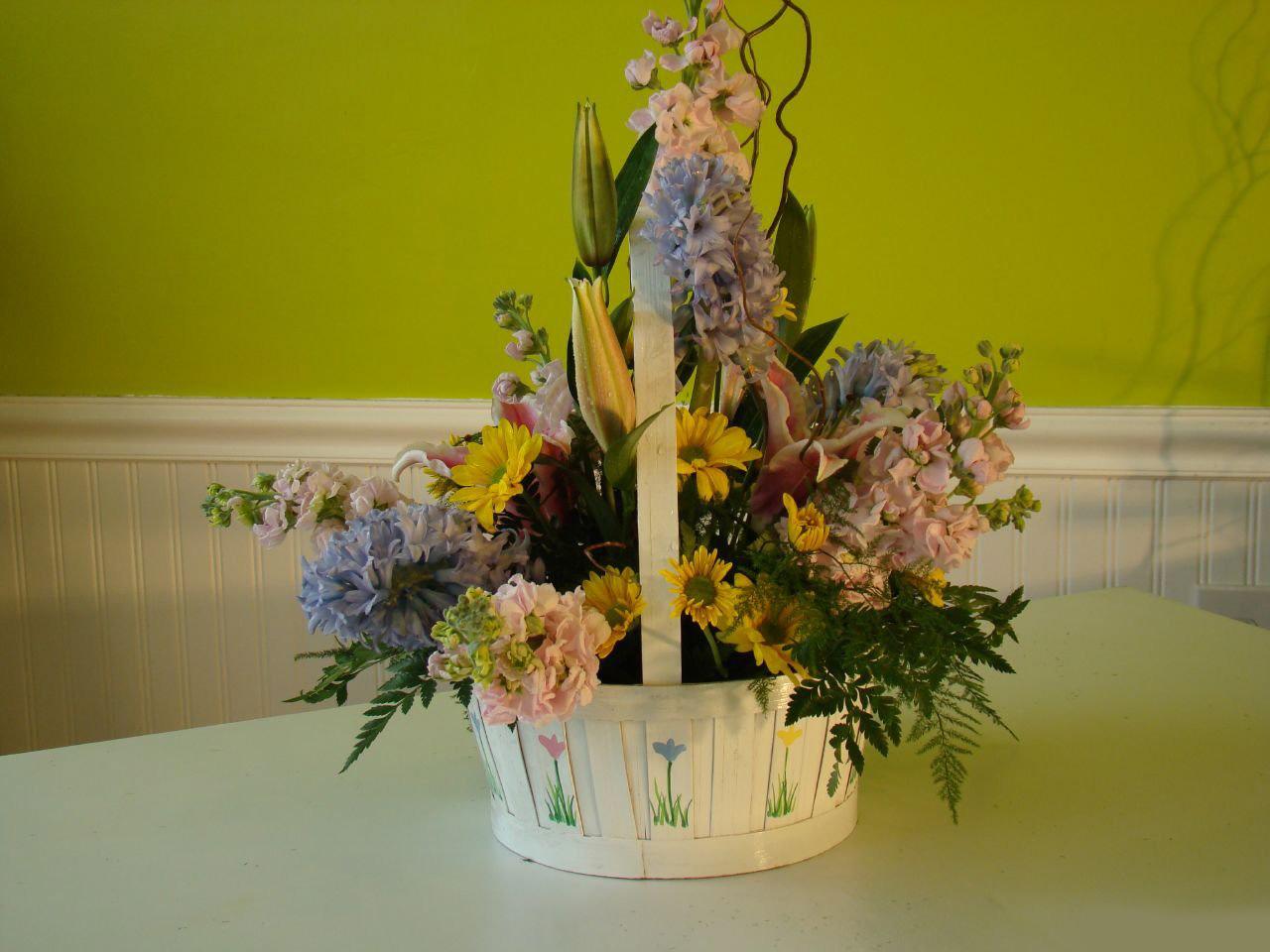 Экибана из живых цветов