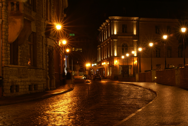 Images Rays Of Light Baltics HDRI Roads Night Street Lights Cities 2764x1850 HDR Time