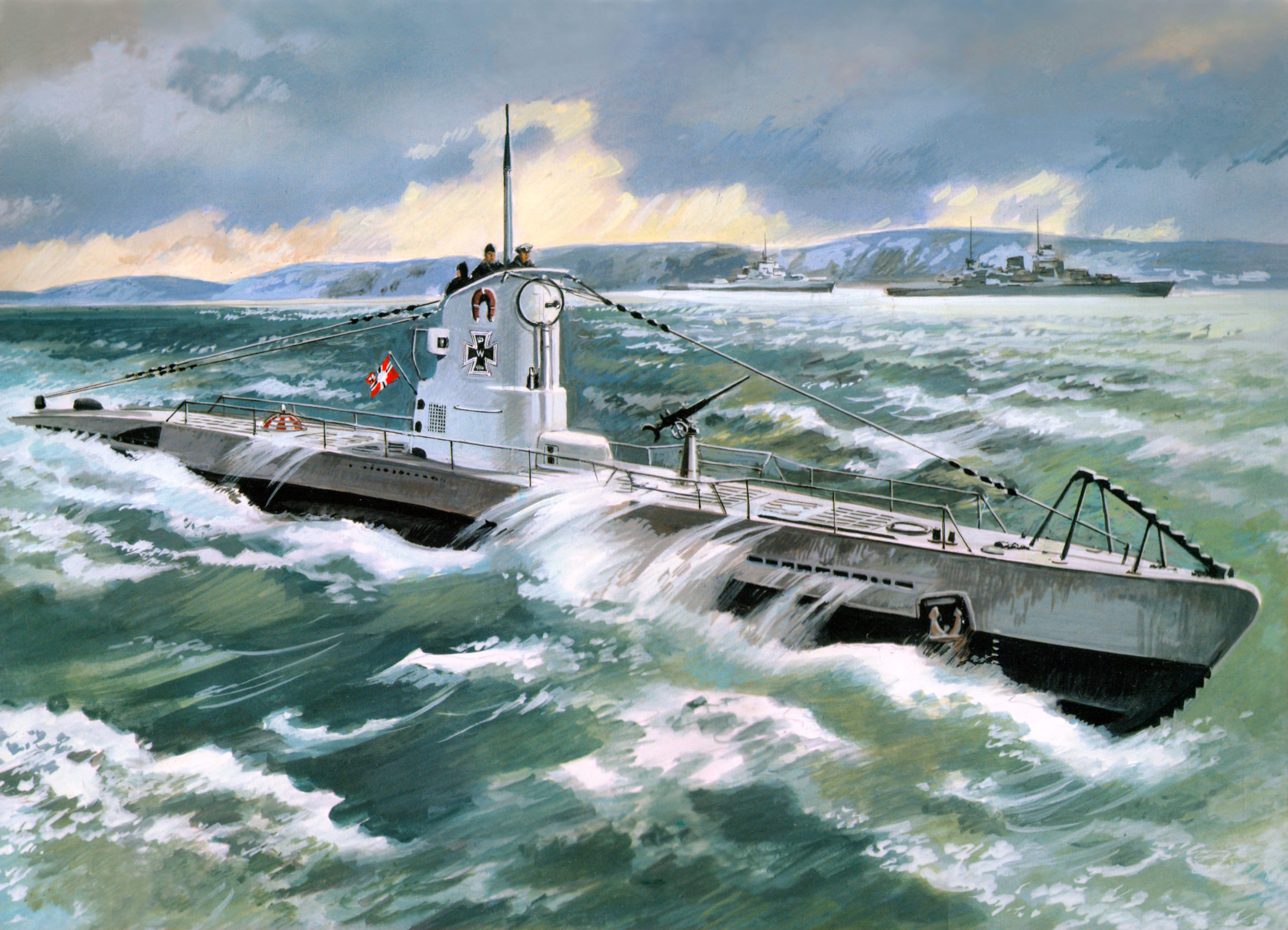 壁紙 7167x5174 描かれた壁紙 潜水艦 U Boat Type 2b 1939 陸軍 ダウンロード 写真