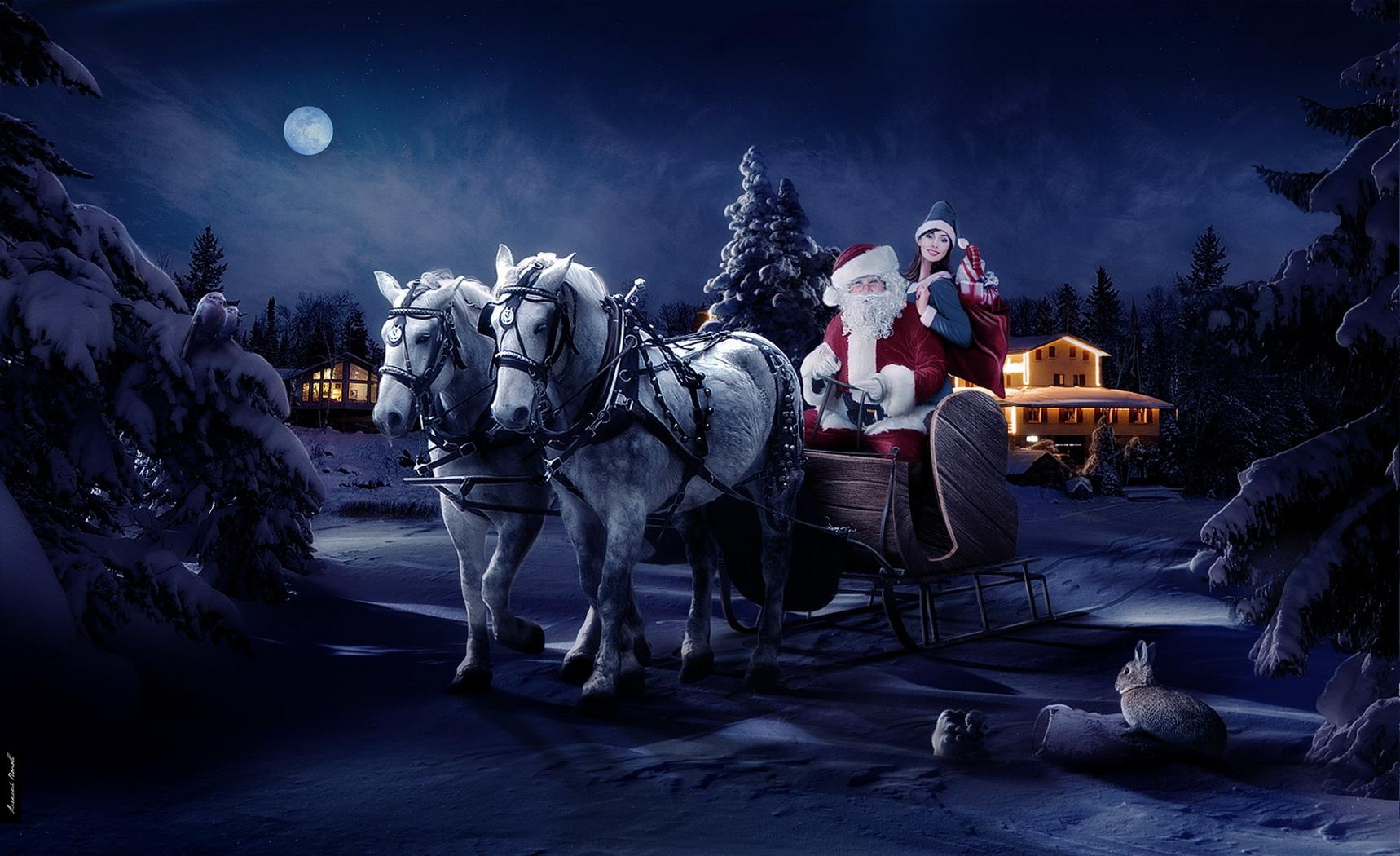 Wallpapers New Year Sled Santa Claus Holidays