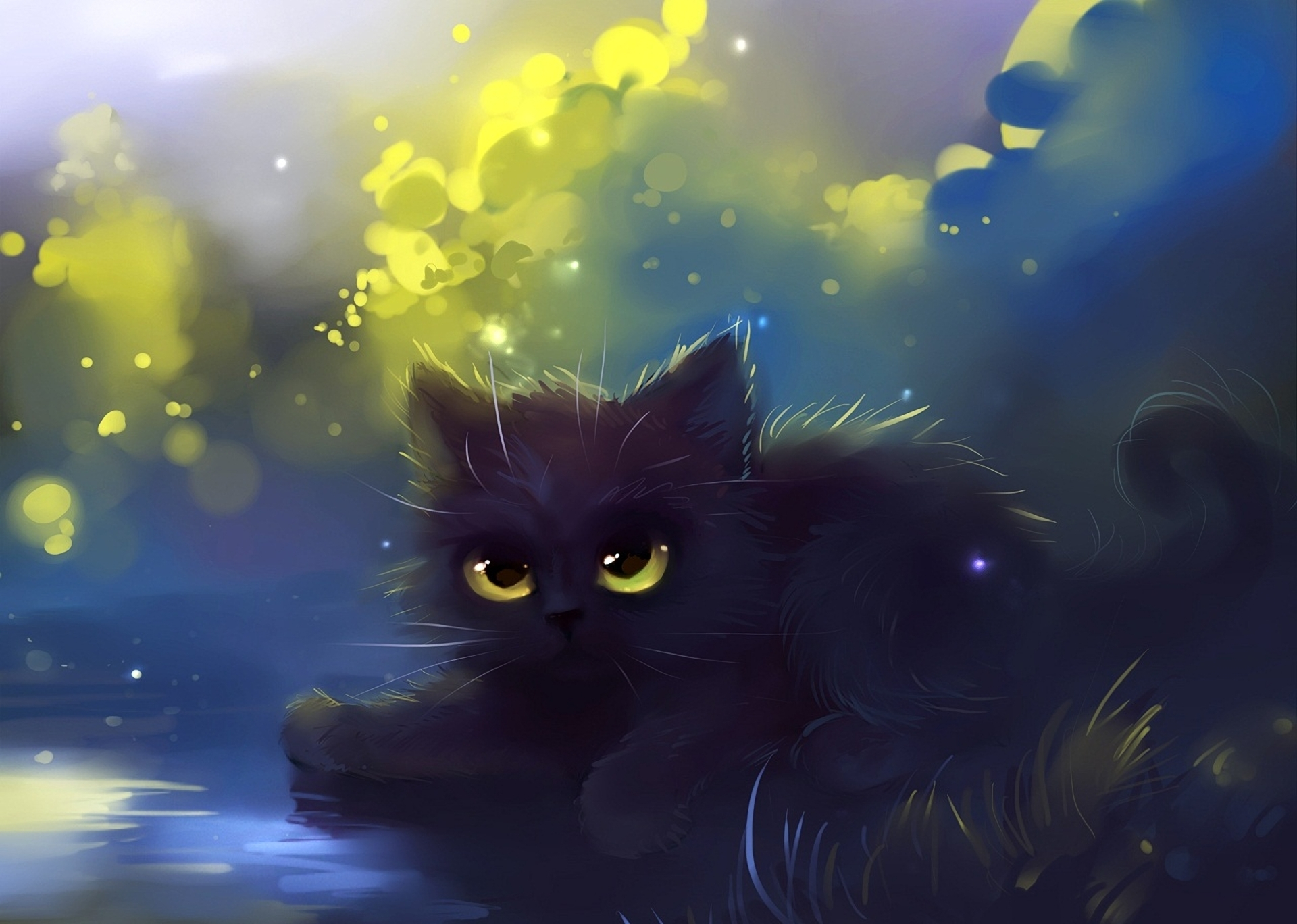 Wallpapers Cats Animals Painting Art 1920x1368