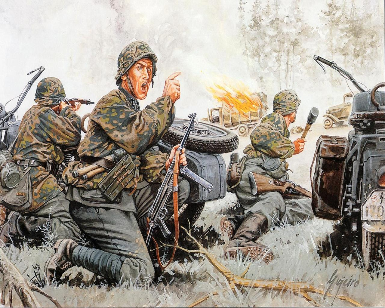 Images Soldiers Waffen SS Painting Art Army