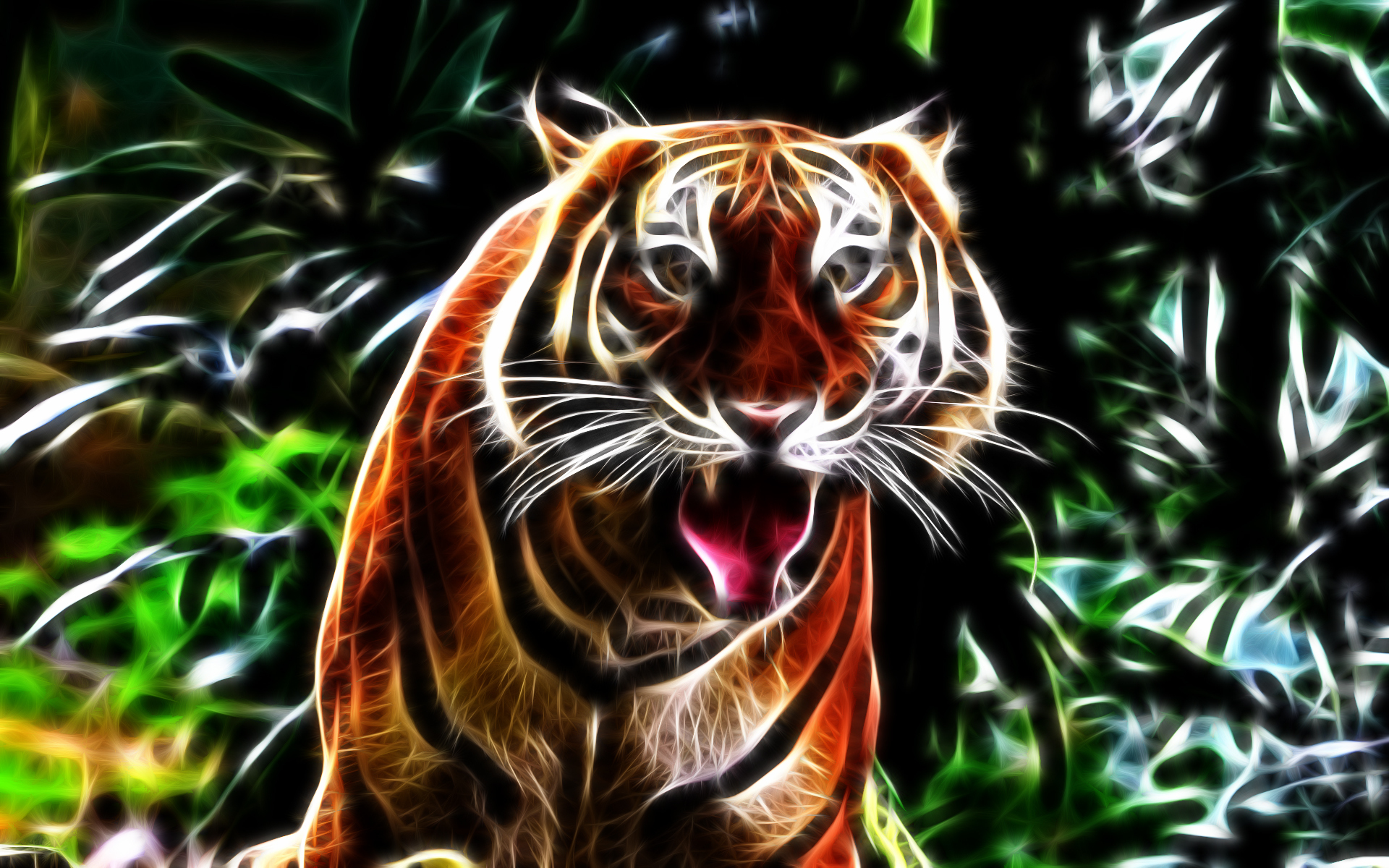 Wallpaper Tigers Big Cats 3d Graphics Angry Snout Glance 1920x1200