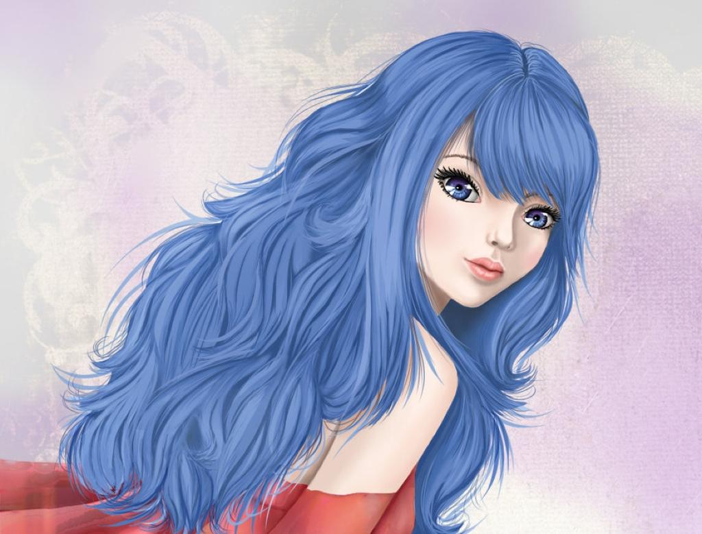 Аниме девушка с синими волосами