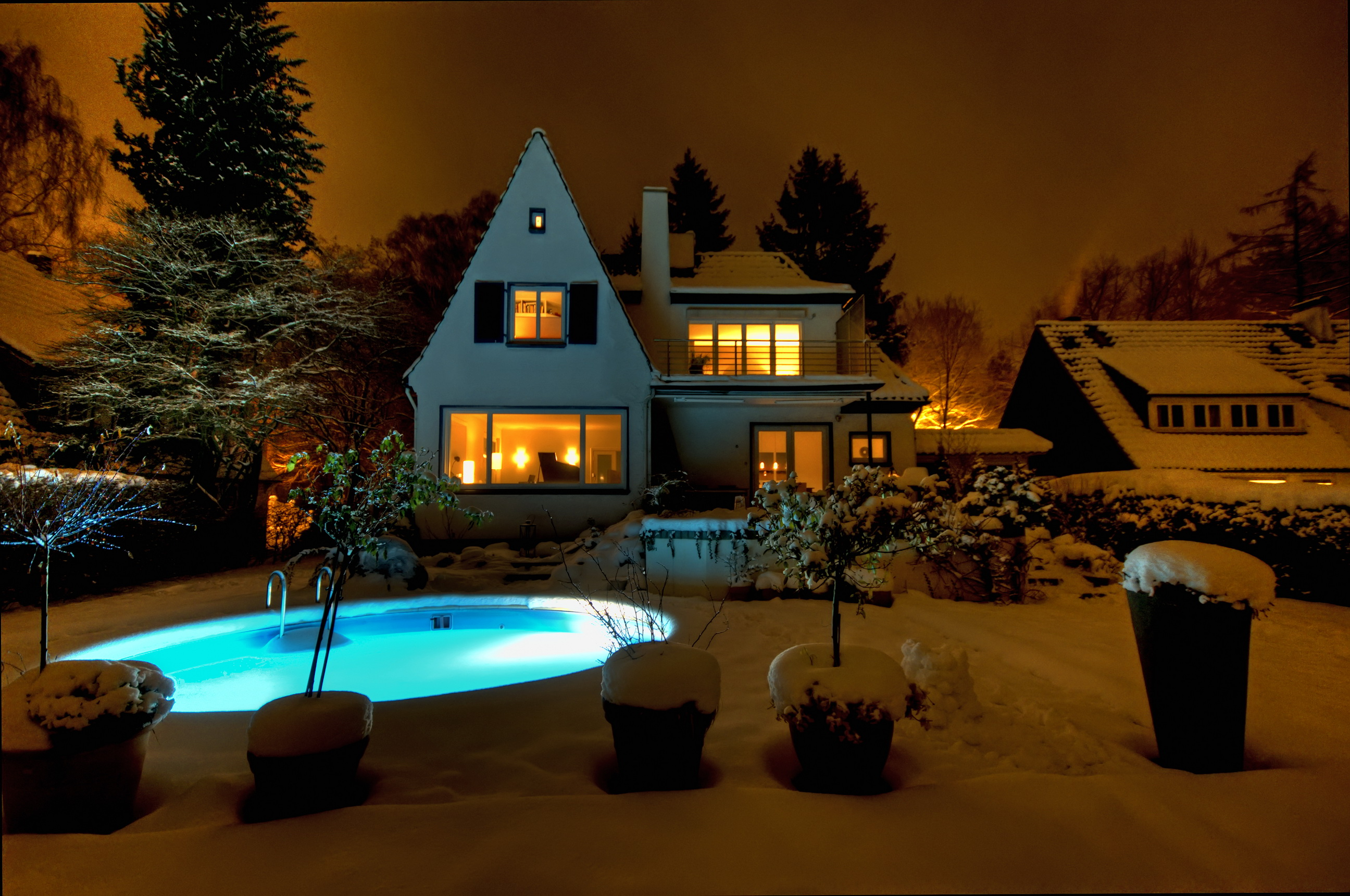 Mansion with pool at night  Photo Swimming bath Snow Mansion night time Cities 2592x1721