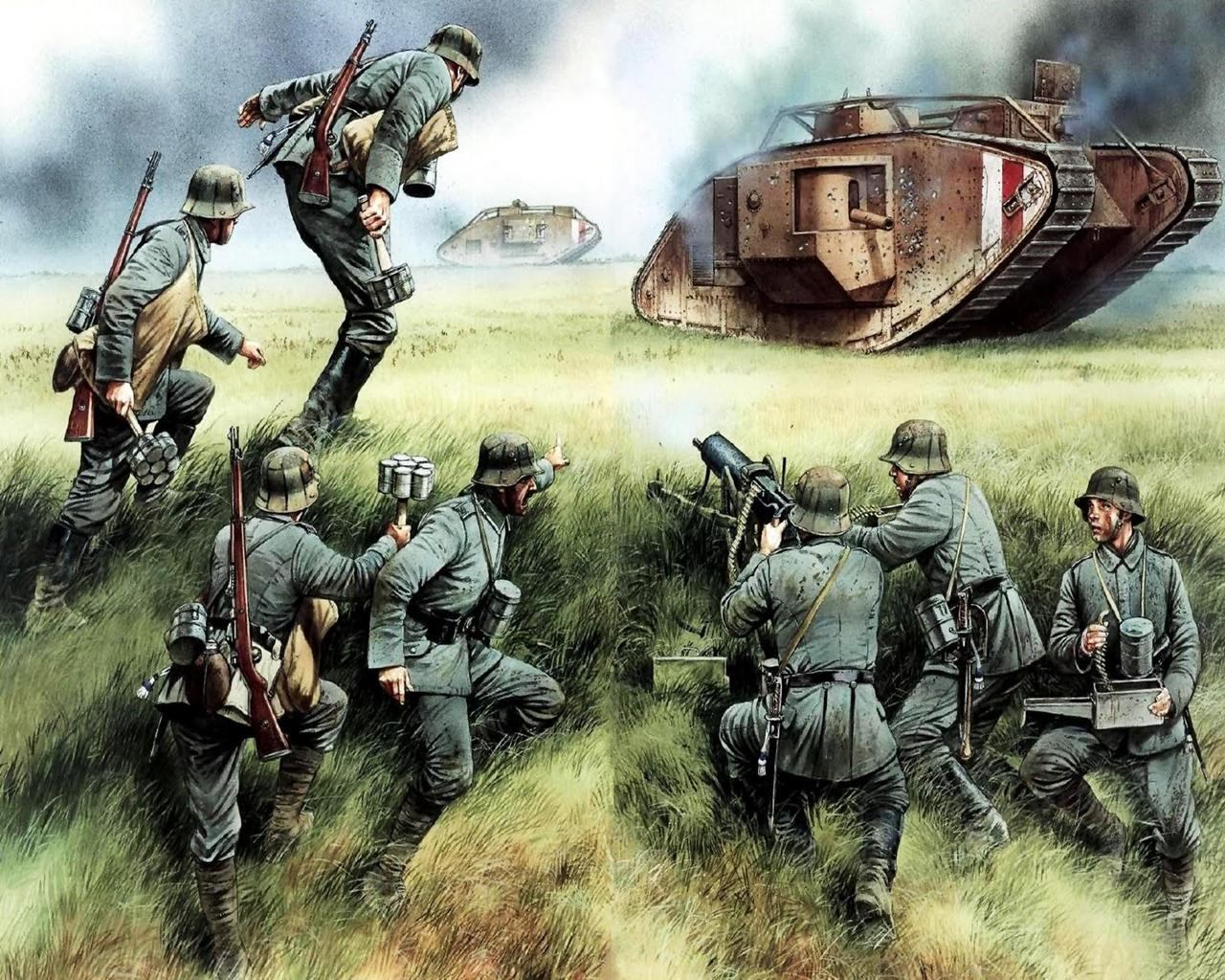 Picture Soldiers Amiens 1918 German Tank Buster Painting Art