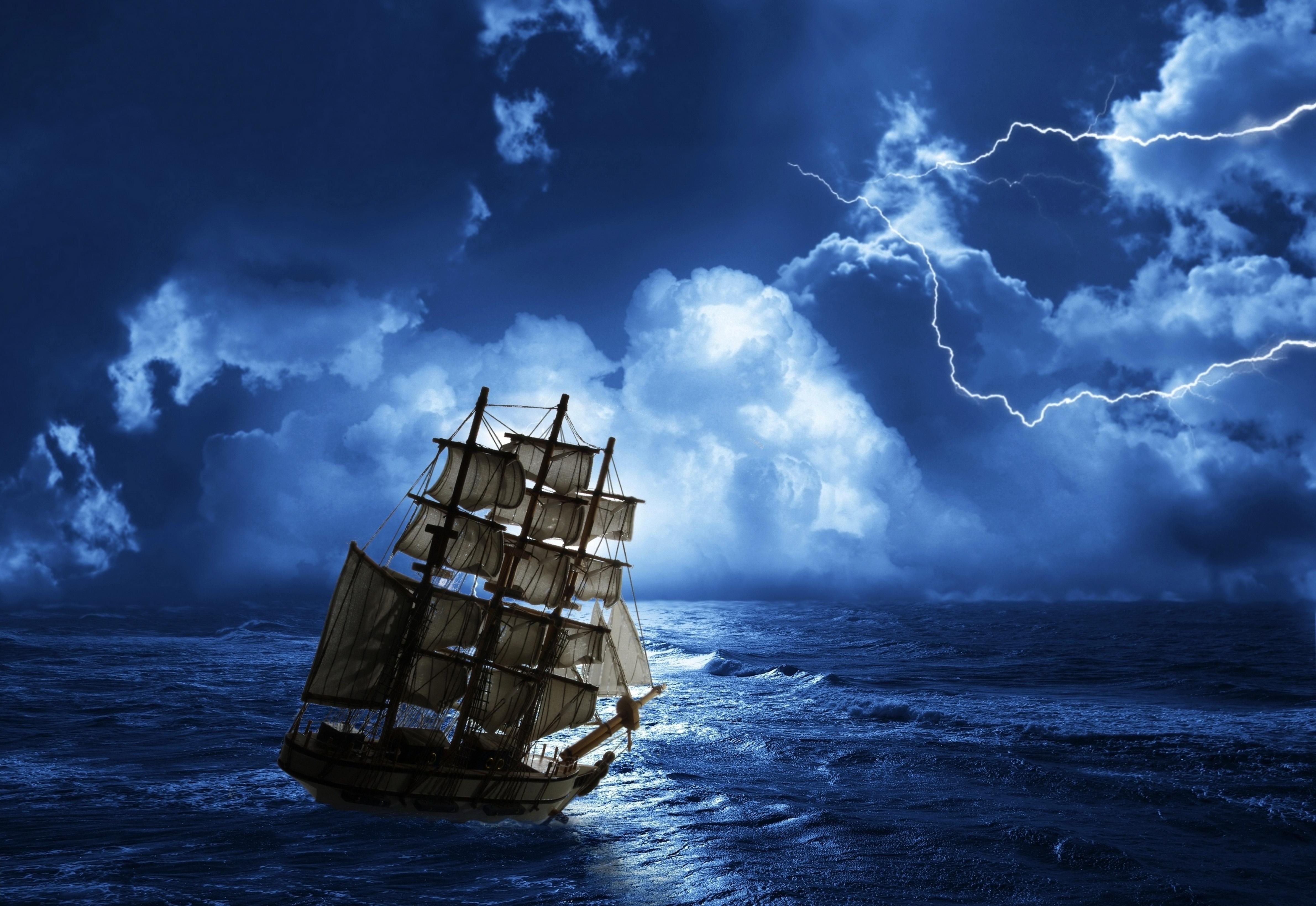 Segelschiffe auf dem meer  Blitz Meer Himmel Schiffe Nacht Segeln Wolke 4762x3278