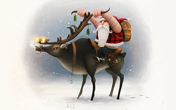 Обои Юмор Олени Новый год Борода Дед Мороз Праздники