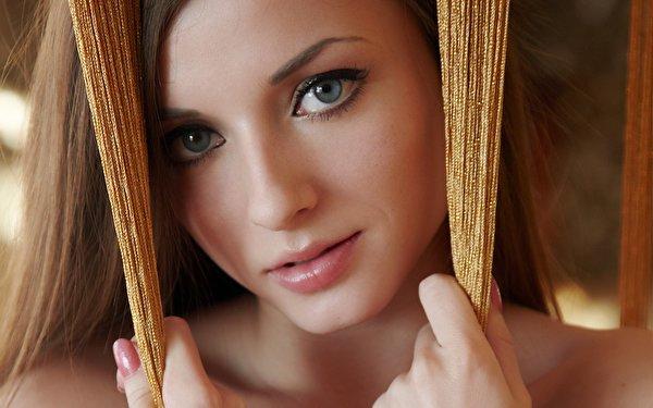 Wallpaper Face Women Model Nose Rings Long Hair: Image Eyes Dark Blonde Face Girls Glance