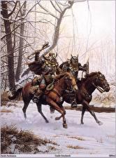 Desktop wallpapers Keith Parkinson Warriors Orc Horse Two Fantasy