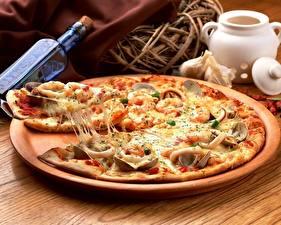 Fotos Pizza Käse Stücke Lebensmittel