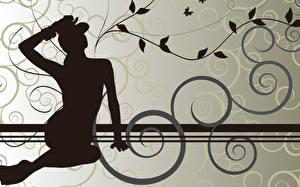 Hintergrundbilder Vektorgrafik Silhouette  Mädchens