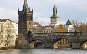 Wallpapers Bridge Czech Republic Towers Cities