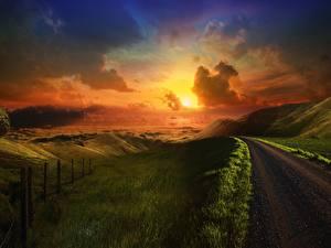 Fotos & Bilder Wege Sonnenaufgänge und Sonnenuntergänge Hügel Natur fotos