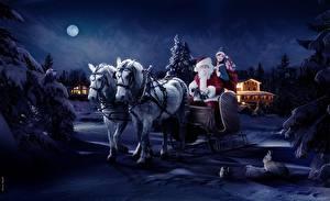Fotos & Bilder Feiertage Neujahr Weihnachtsmann Schlitten fotos