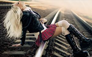 Image Wearing boots Skirt Rails Knee highs