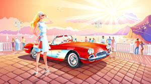 Bilder Vektorgrafik Autos Mädchens