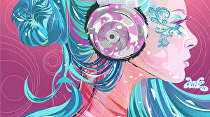 Fondos de Pantalla Gráfico vectorial Auriculares Chicas