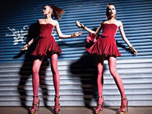 Fotos Strumpfhose  Kleid High Heels