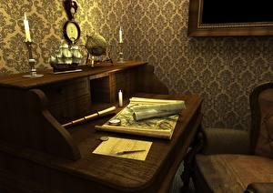 Pictures Interior Antique Table Design 3D Graphics