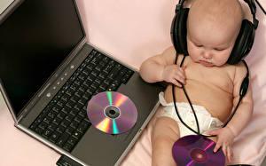 Fondos de Pantalla Teclado informática Auriculares Bebé Computadora portátil  Niños