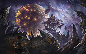 Wallpaper Technics Fantasy Planet Orbital stations Fantasy Space
