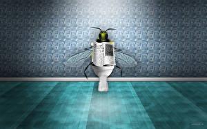 Bureaubladachtergronden Vliegen Een toilet grappige