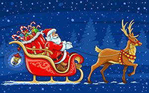Fotos & Bilder Feiertage Neujahr Weihnachtsmann Barthaar Schlitten fotos