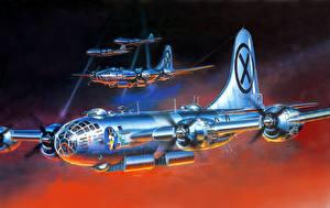 Bilder Flugzeuge Gezeichnet Boeing boeing, b-17