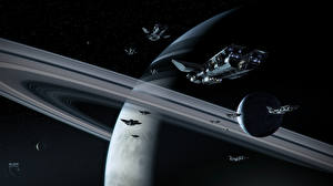 Picture Technics Fantasy Ship Planets Starship Ring system Fantasy Space