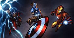 Hintergrundbilder Comic-Helden Captain America Held Iron Man Held Thor Held Fantasy