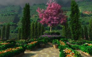 Garten 3D-Grafik Natur