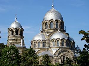 Bilder Tempel Vilnius Litauen Kuppeln  Städte