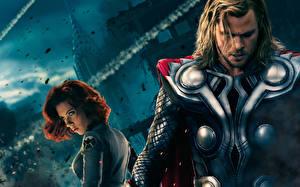 Hintergrundbilder Marvel's The Avengers 2012 Chris Hemsworth Thor Held Scarlett Johansson Film