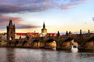 Photo Czech Republic Prague Charles Bridge Tower Cities