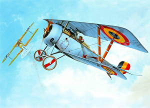 Hintergrundbilder Flugzeuge Gezeichnet Retro Nieuport Ni-23