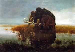 Bilder Alte Tiere Mammute Mammoths in the swamp Tiere