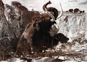 Hintergrundbilder Alte Tiere Mammute Sinking mammoth Tiere