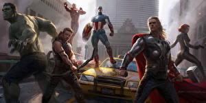 Bilder Marvel's The Avengers 2012 Chris Hemsworth Hulk Held Thor Held Captain America Held Film