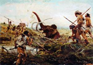 Hintergrundbilder Malerei Zdenek Burian Mammute Mammoth hunt in the swamp